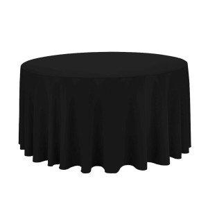 ROUND PLAIN TABLECLOTH Ø180cm - BLACK