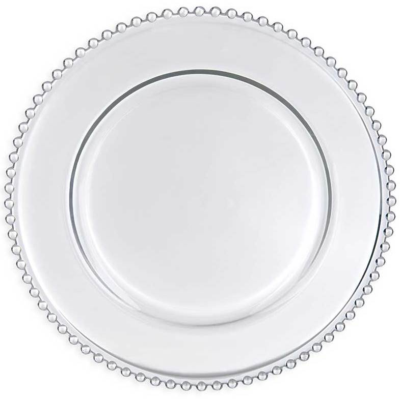 Charger Plate Beaded-Clear